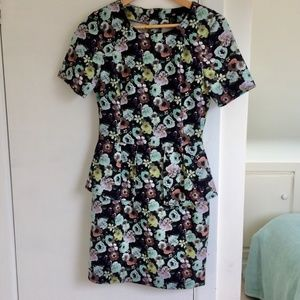 H&M Dark Floral Peplum Dress